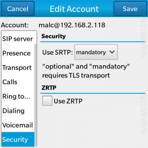 SRTP and ZRTP settings