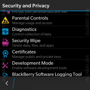 BlackBerry OS Settings application. Security and Privacy options.