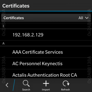 BlackBerry OS Settings application. Certificates settings
